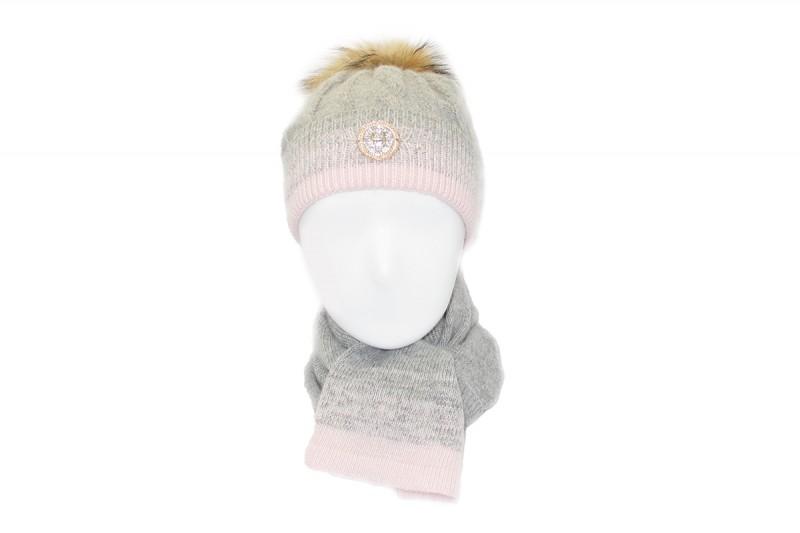 Женский ангоровый комплект шапка с бубоном + шарф «03494»
